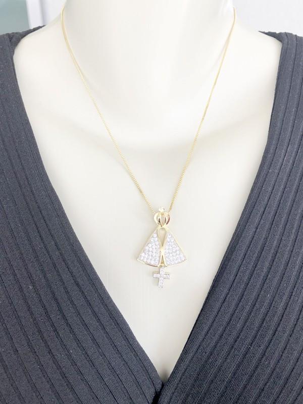 Colar Nossa Senhora com Zircônia Cristal banhado em Ouro 18K