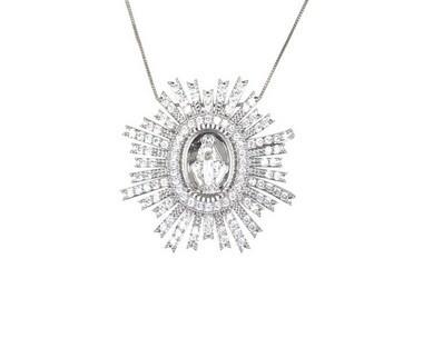Colar Nossa Senhora das Graças com Zircônia Cristal banhado em Ródio Branco