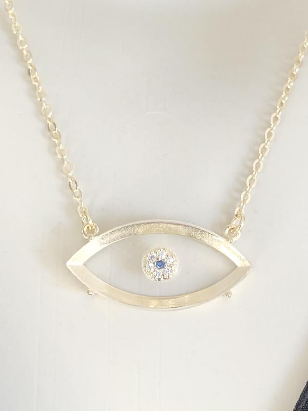 Colar Olho Grego Cristal banhado em Ouro 18K/Ródio Branco