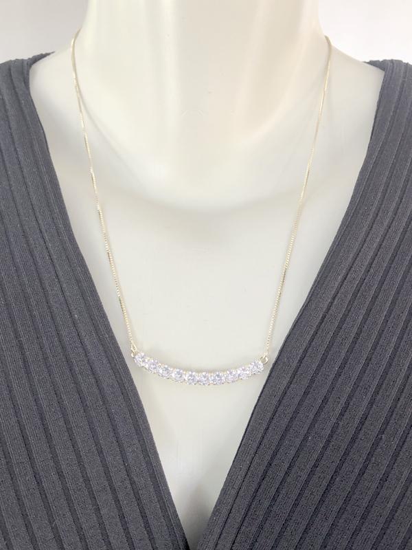 Colar Palito Cristal banhado em Ouro 18k/Ródio Branco