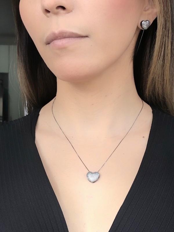 Conjunto Coração com Zirconia Cristal banhado em Ródio Negro