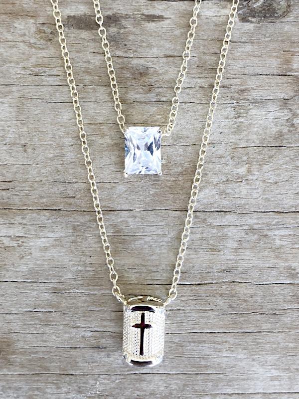 Escapulario Cruz com Cristal banhado em Ouro 18K/Ródio Branco