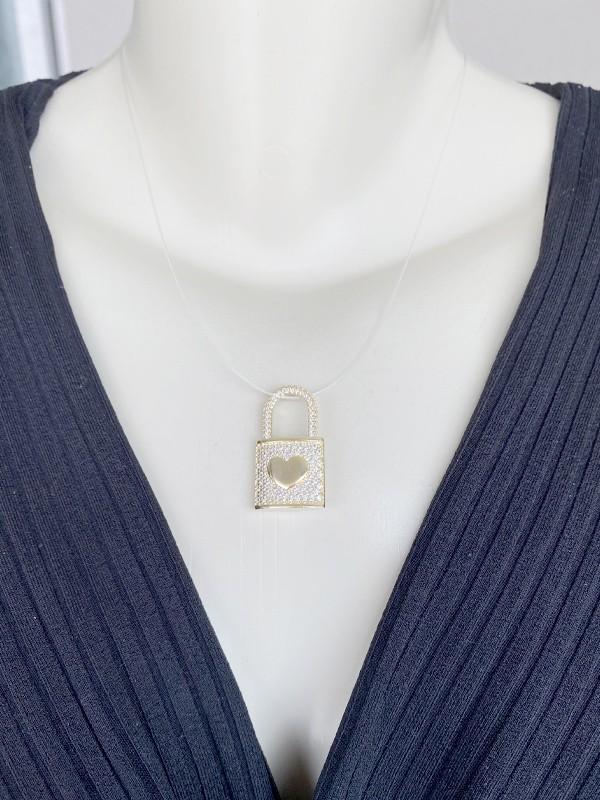 Pingente Cadeado Cravejado Cristal com Coração banhado em Ouro 18K