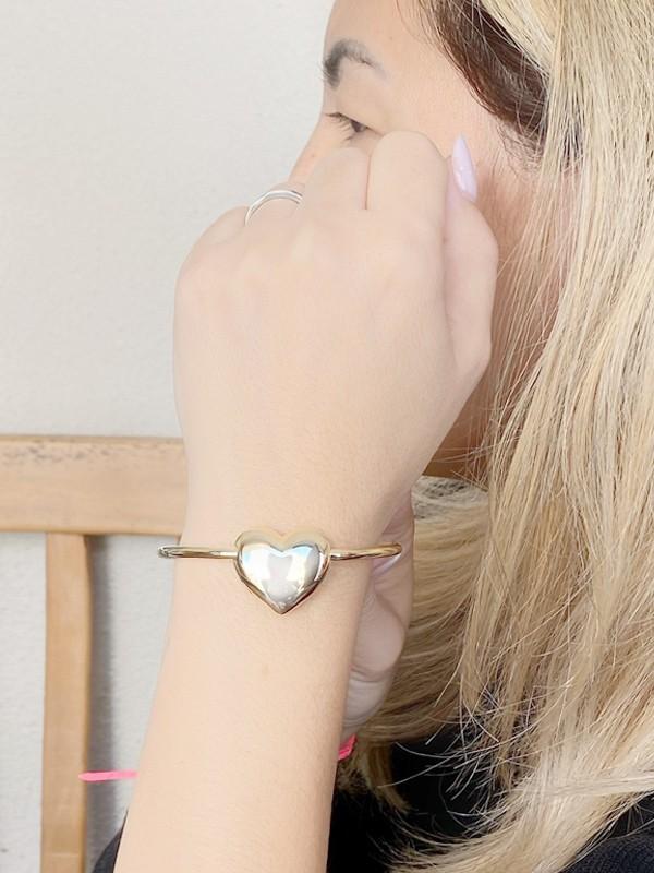 Pulseira Aro Coração Liso banhao em Ouro 18K/Ródio Branco