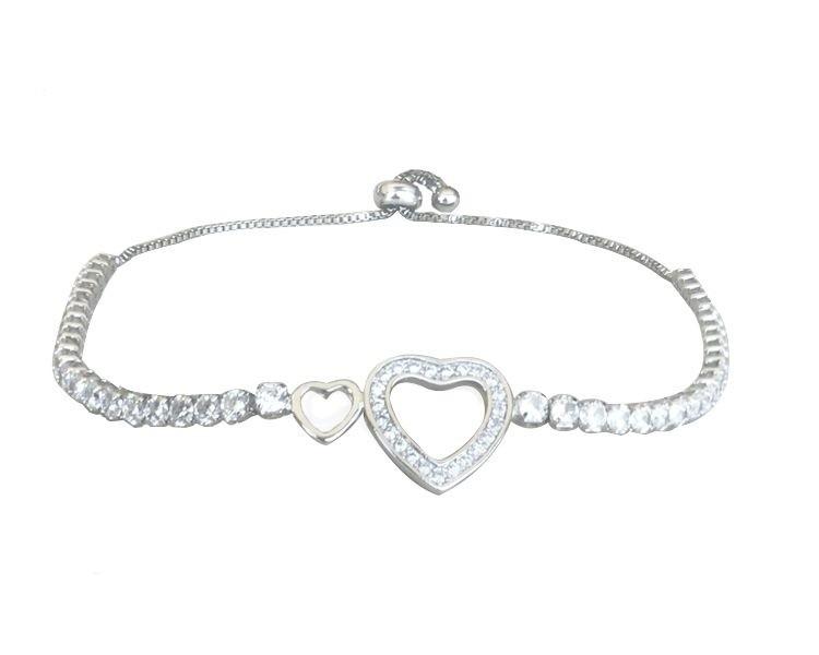 Pulseira Coração Ajustável com Zircônia Cristal banhado em Ródio Branco