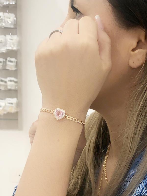 Pulseira Elos com Coração Rosa banhado em Ouro 18K/Ródio Branco Banho: Ouro 18K