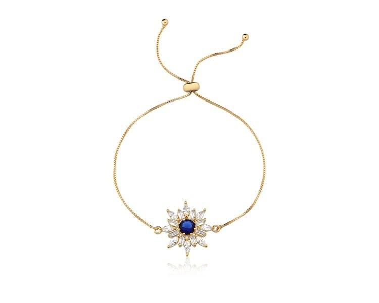 Pulseira Flor com Zircônia Cristal e Azul banhado em Ouro 18K