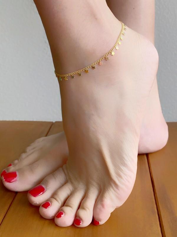 Tornozeleira Estrelas banhado em Ouro 18K/Ródio Branco