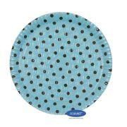 Prato Poá Azul 25,5cm - Pacote com 10 unidades