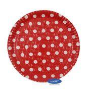 Prato Poá Vermelho 38,0cm - Pacote com 10 unidades