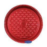 Prato Vermelho 22,0cm - Pacote com 10 unidades