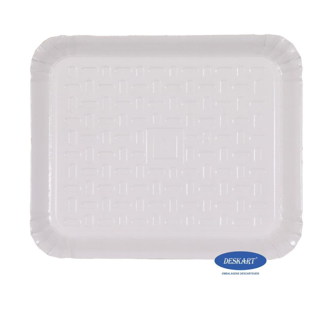 Bandeja Branca Plastificada 46x37cm - Pacote com 10 unidades