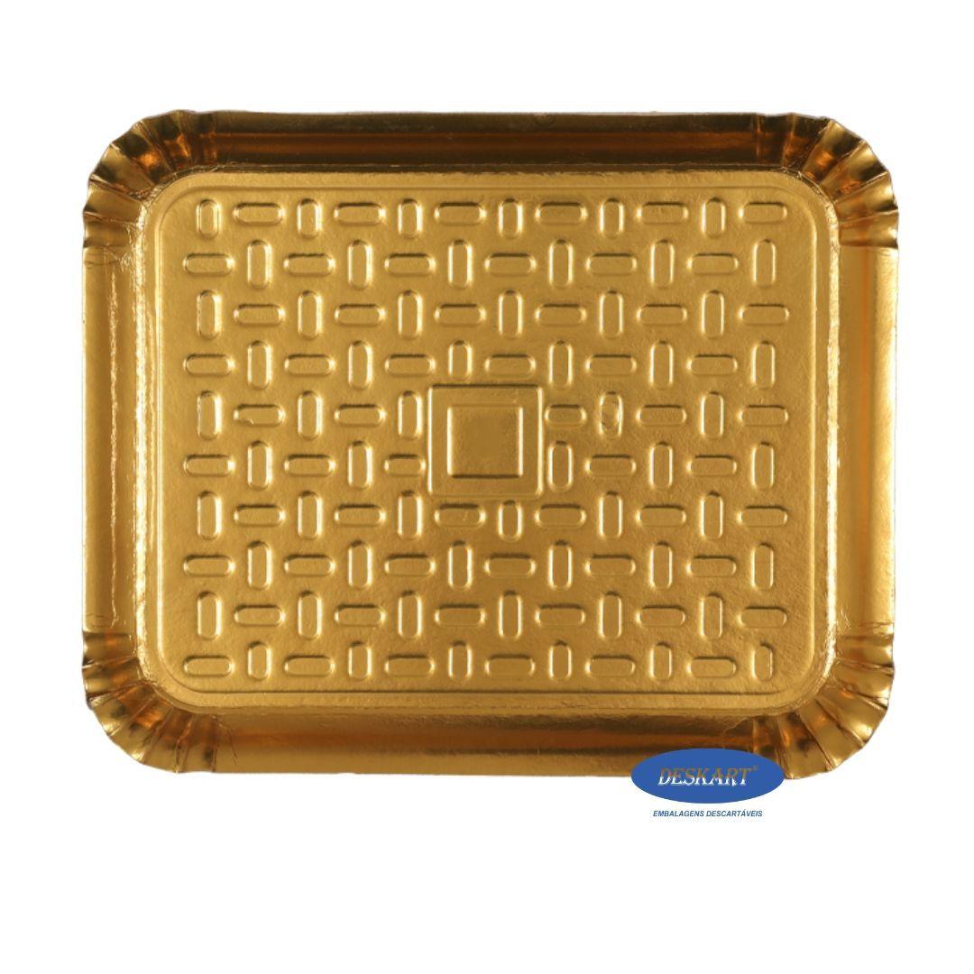 Bandeja Dourada 50x41cm - Pacote com 10 unidades