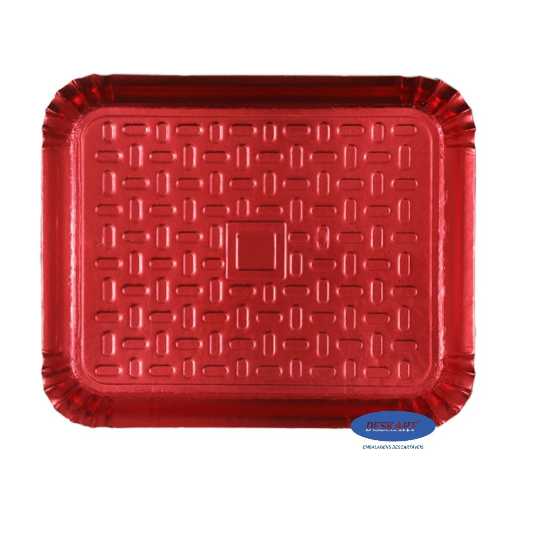 Bandeja Vermelha 50x41cm - Pacote com 10 unidades