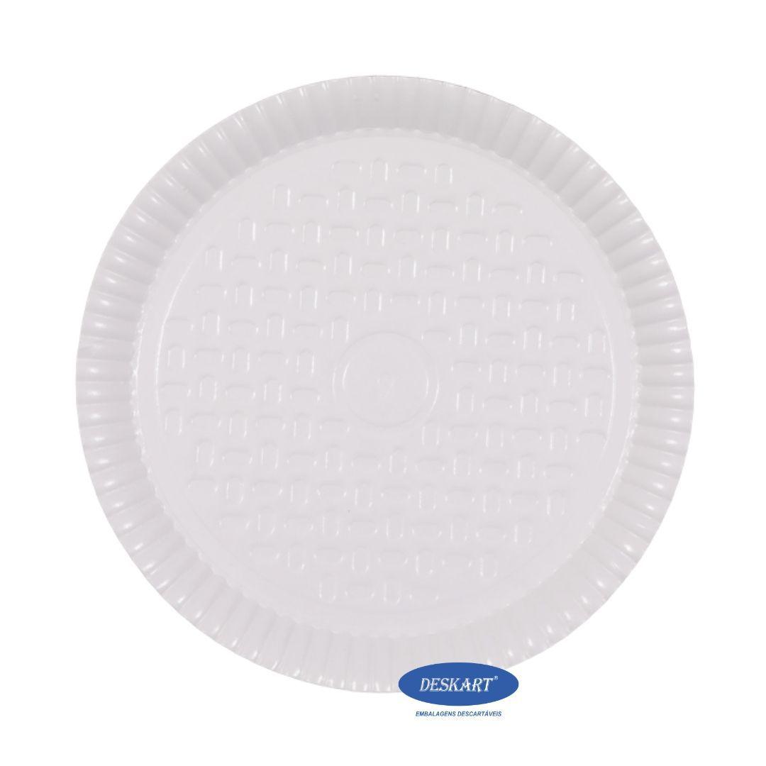 Prato Branco Plastificado 22,0cm - Pacote com 10 unidades