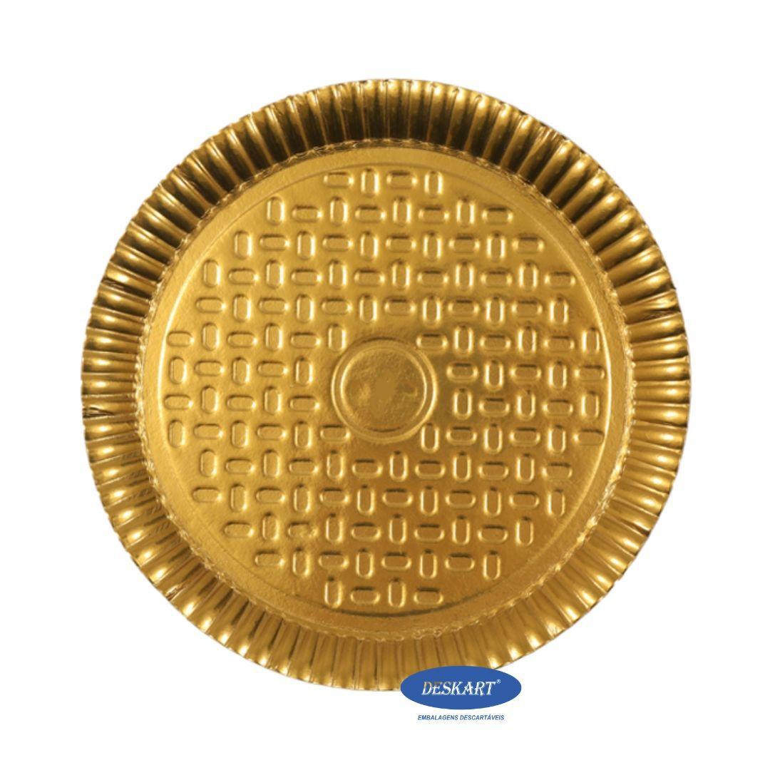 Prato Dourado 25,5cm - Pacote com 10 unidades