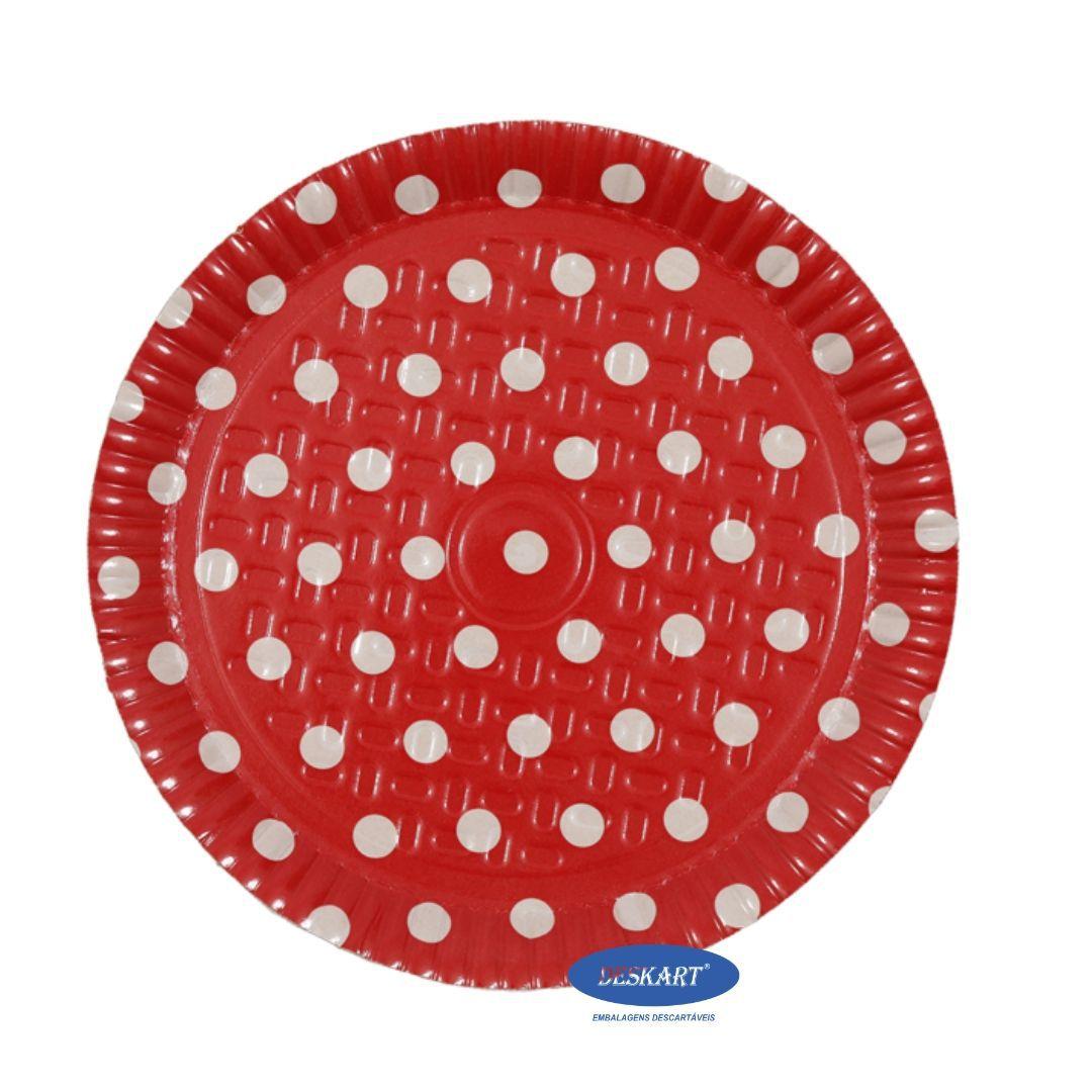 Prato Poá Vermelho 22cm - Pacote com 10 unidades