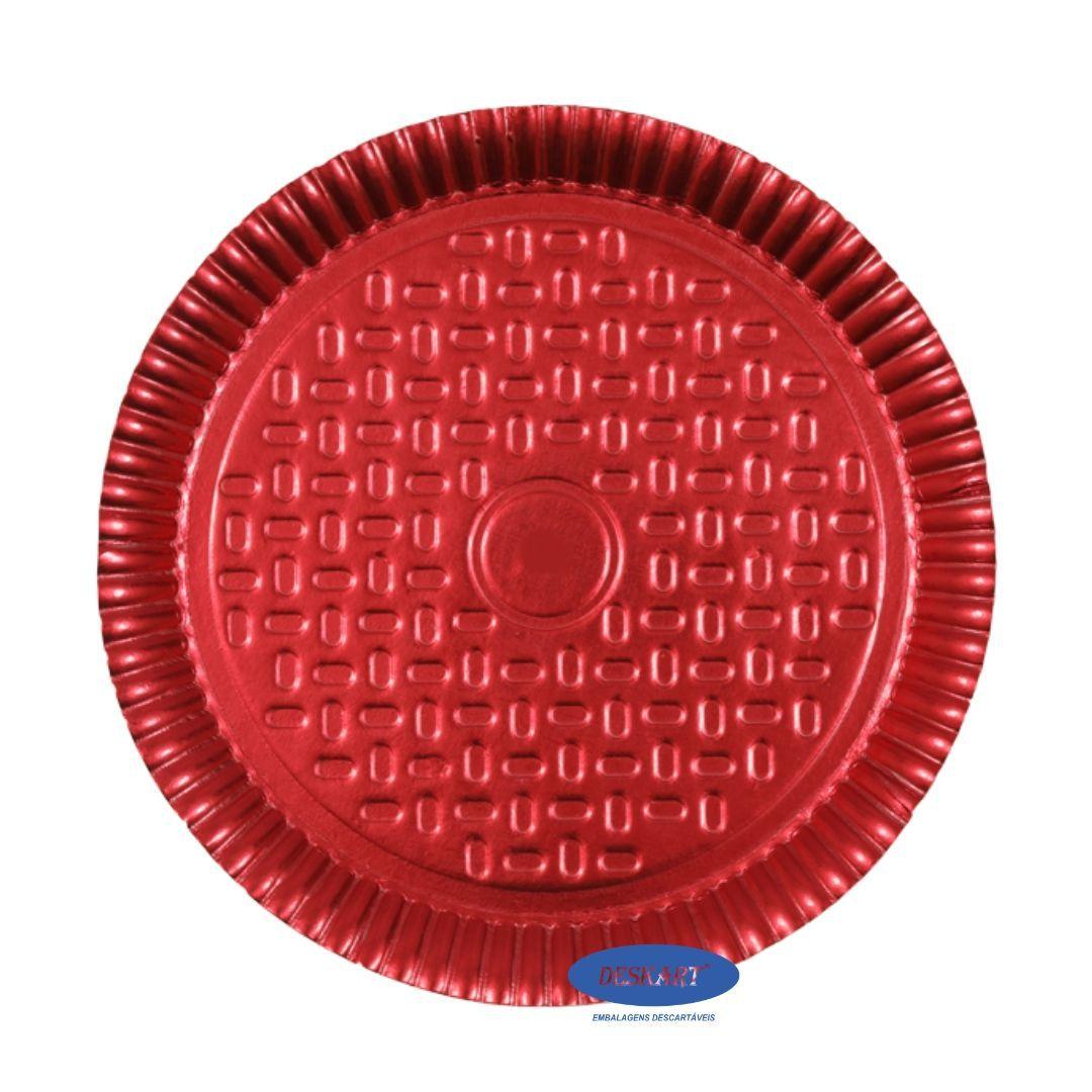Prato Vermelho 25,5cm - Pacote com 10 unidades