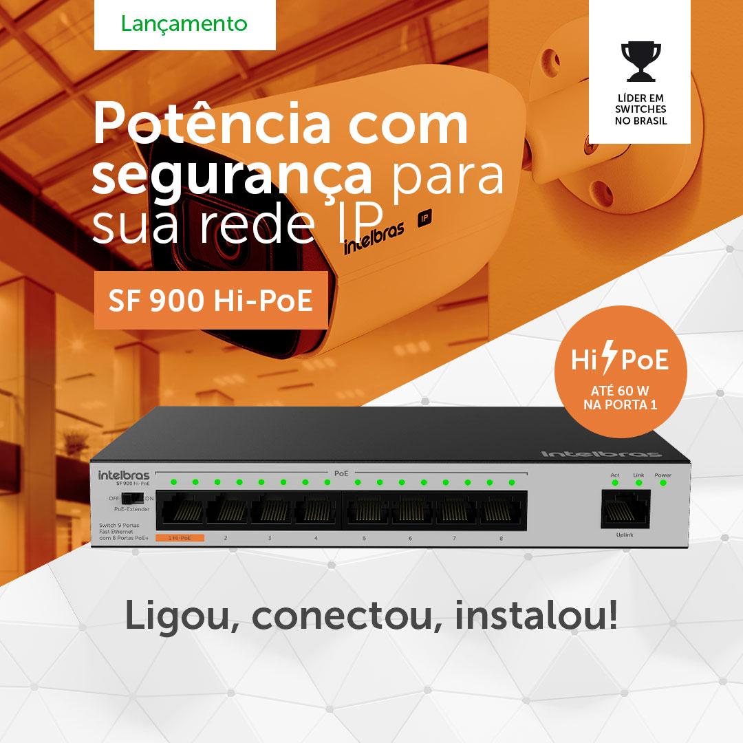 Switch 9 Portas Fast Ethernet 8 Portas PoE+ SF 900 Hi-PoE Intelbras
