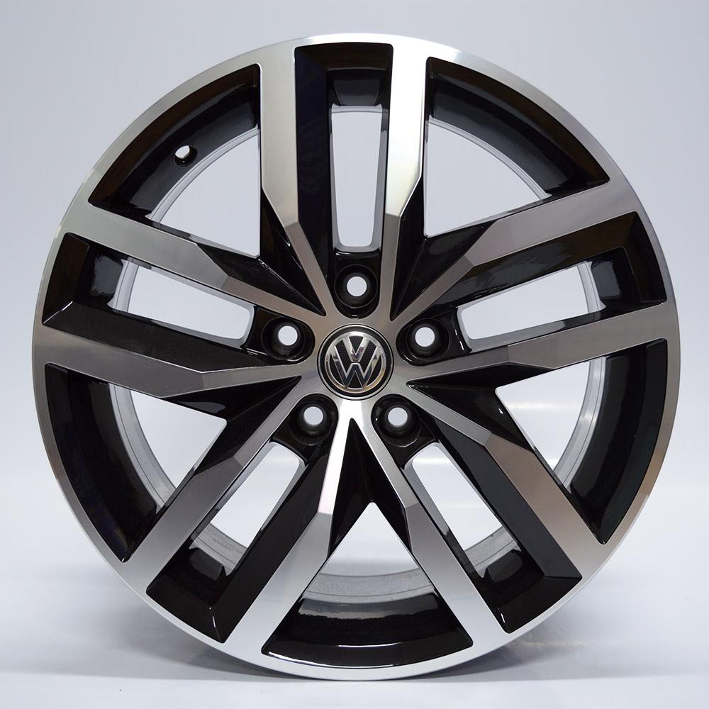 JOGO DE RODAS KRMAI R46 (VW GOLF) ARO 17X7 PRETO DIAMANTADO 5X112 ET 41