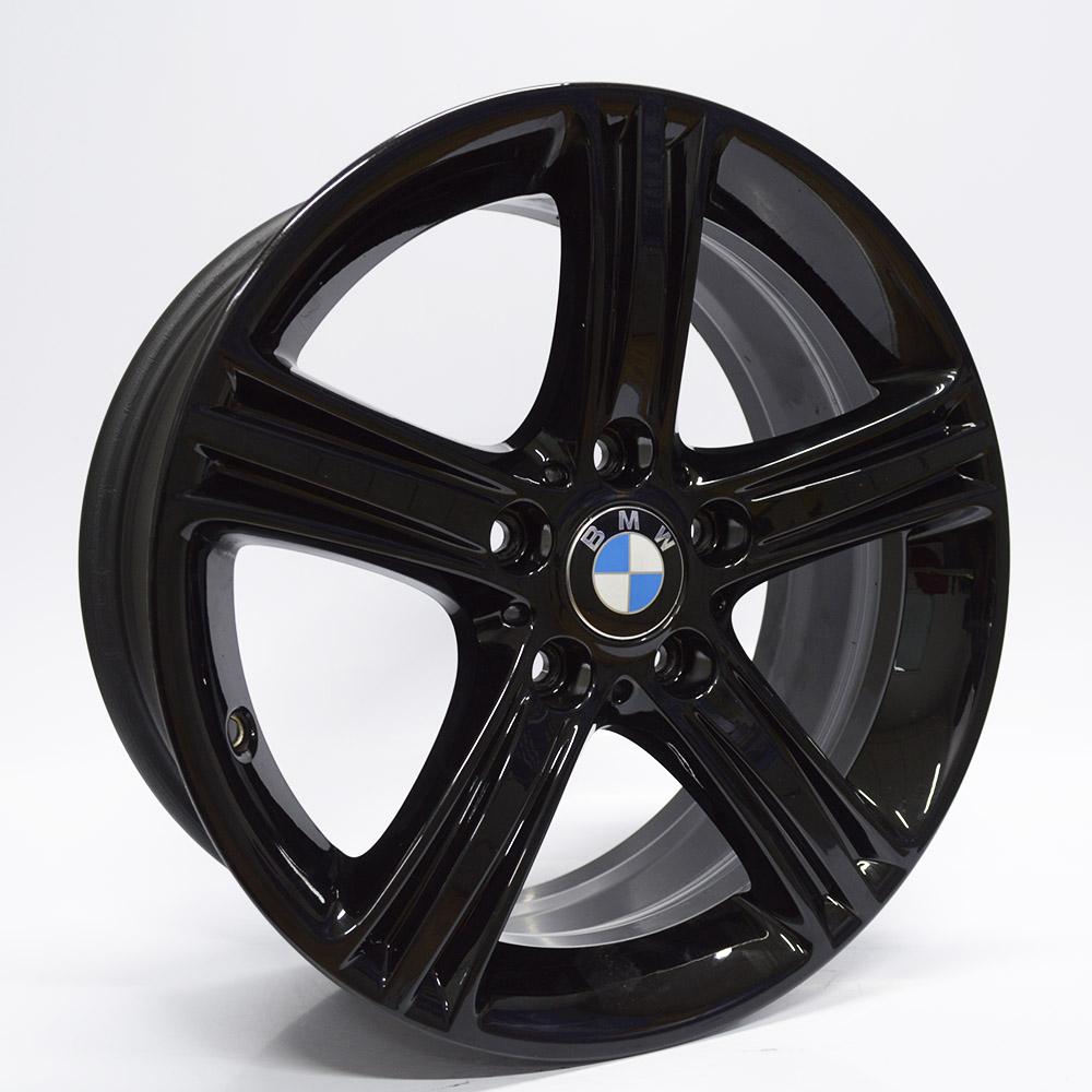 JOGO DE RODAS ORIGINAIS BMW 320 2013 ARO 17X7,5 PRETO BRILHANTE 5X120 ET 25 USADAS
