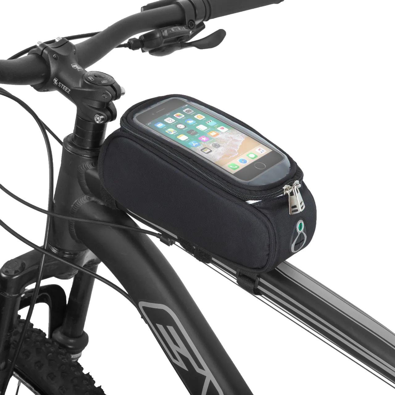 Bolsa de Quadro FitSanté com porta Celular + Luva Bike Moke