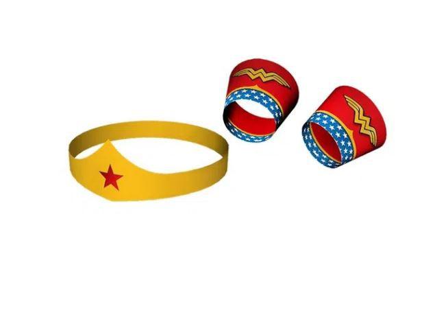 Acessório Tiara e Bracelete - Mulher Maravilha - Festcolor