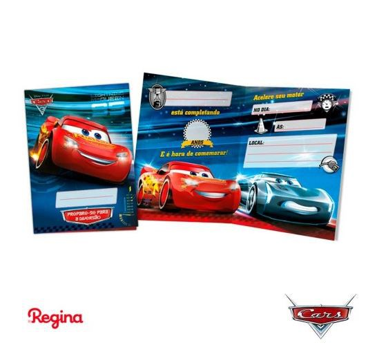 Convite de Aniversário 8 Unidades - Cars - Regina Festas