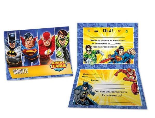 Convite de Aniversário 8 Unidades - Liga da Justiça - Festcolor