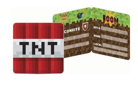Convite de Aniversário 8 Unidades - Mine Pixels - Junco
