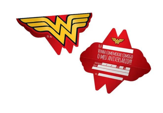 Convite de Aniversário 8 Unidades - Mulher Maravilha - Festcolor
