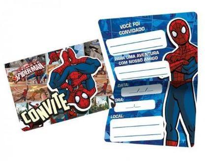 Convite de Aniversário 8 Unidades - Spider Man - Regina Festas
