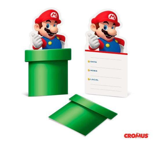 Convite de Aniversário 8 Unidades - Super Mario - Cromus