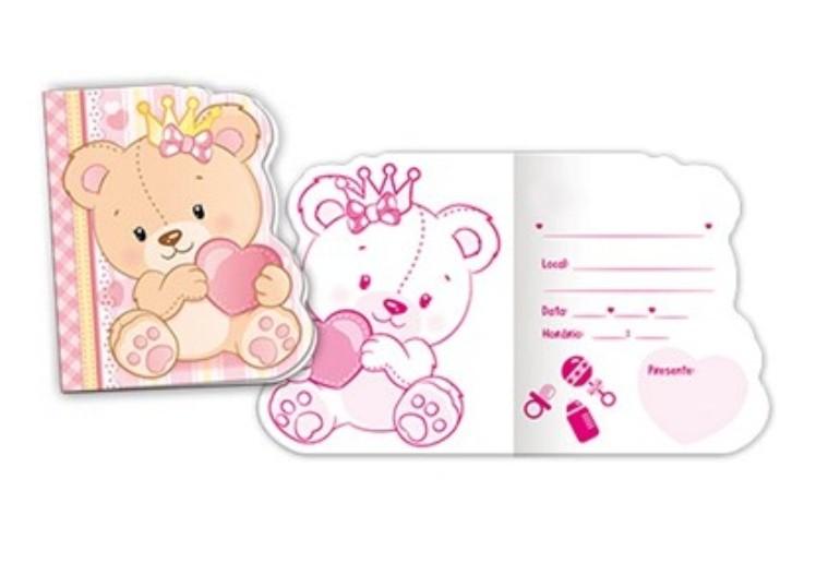 Convite Ursinha Princesa Baby