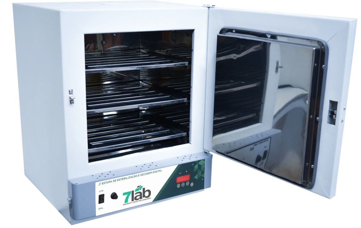Estufa de Secagem e Esterilização Digital de Alta Precisão 7Lab INOX - 110 L 250°C (Bivolt) com timer