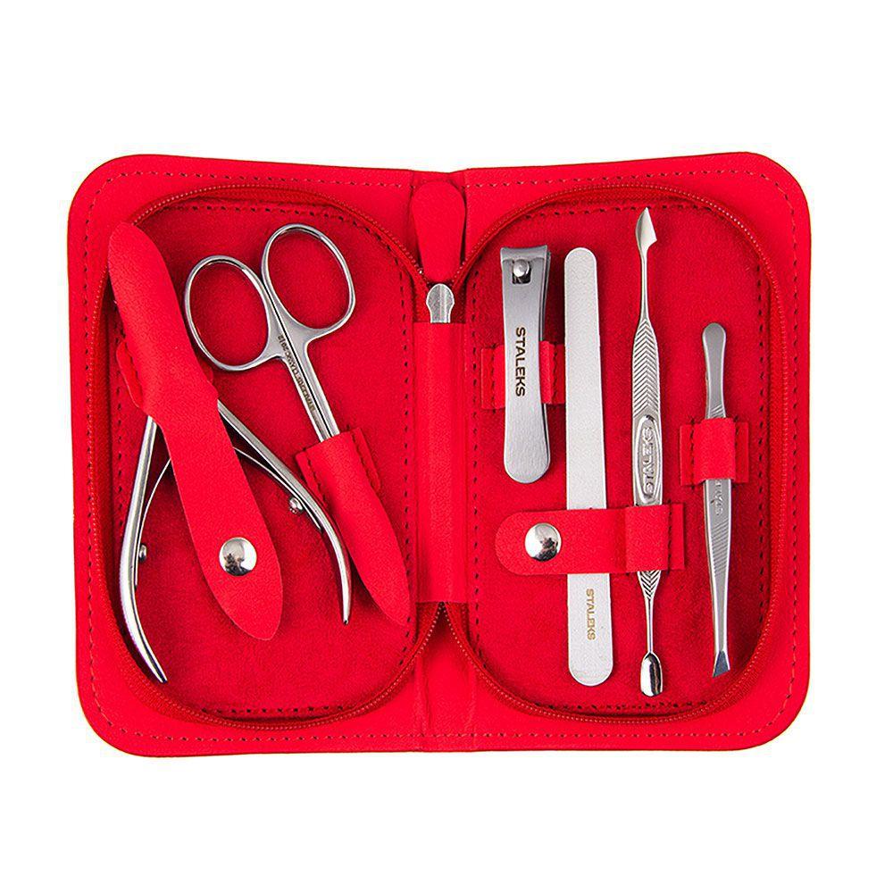Estojo com Ferramentas para Manicure - Staleks - Multi - MS-10 -VERMELHO
