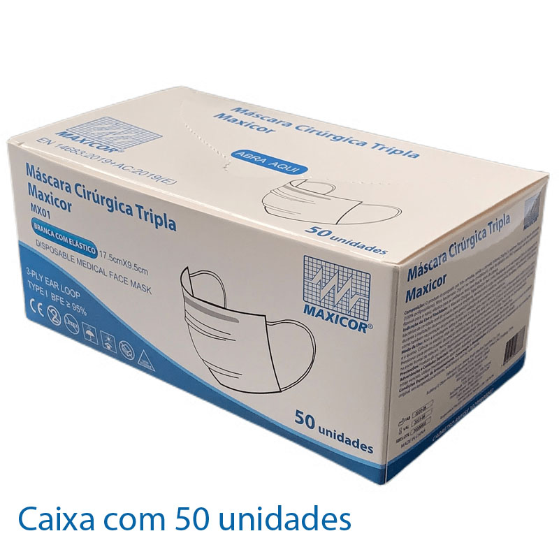 Máscara Descartável Tripla Proteção Maxicor (Caixa com 50 unidades)