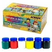 Tinta para Pintura a Dedo com 6 Unidades - Acrilex