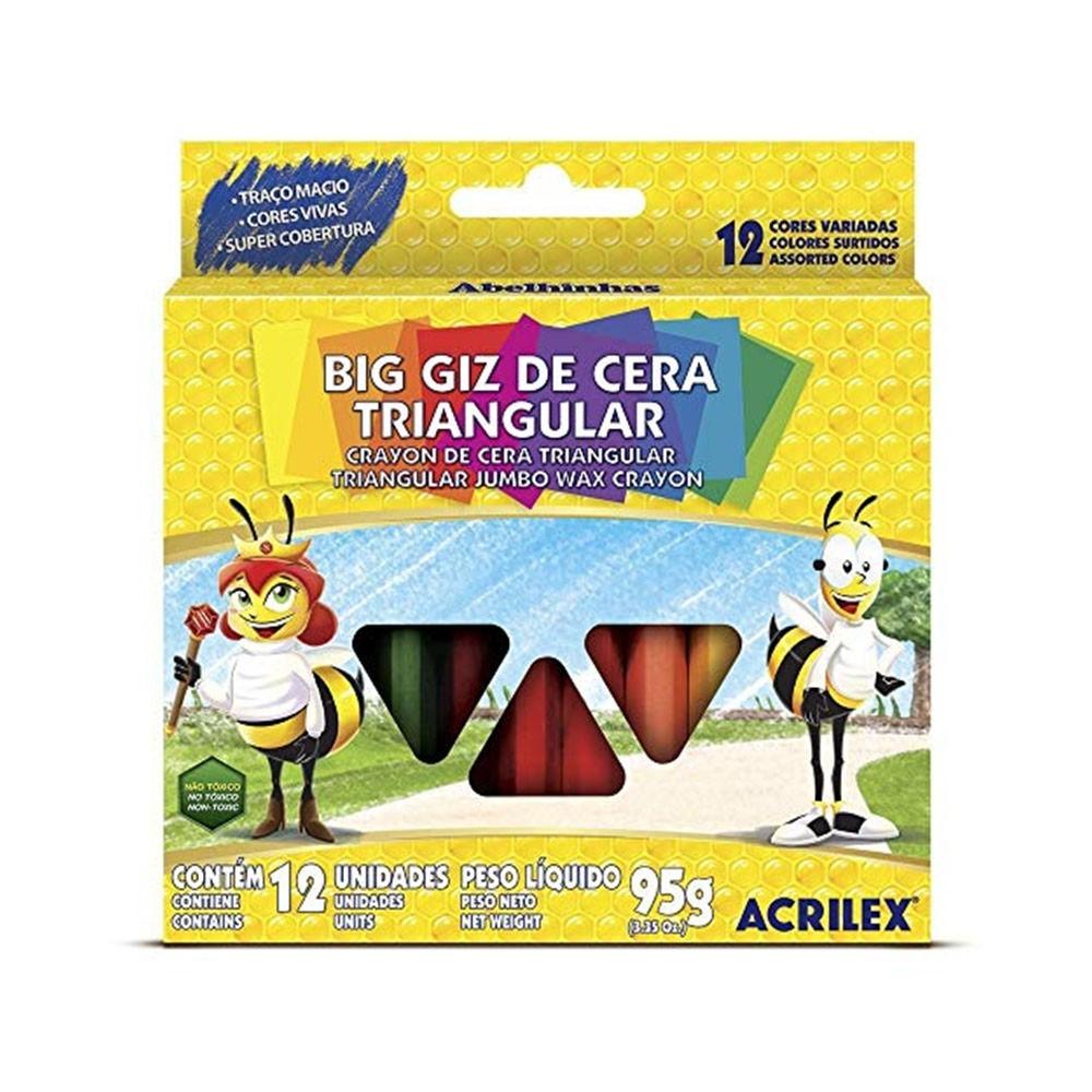Giz de Cera Base Triangular 12 Cores - Acrilex