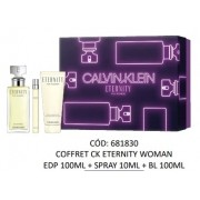 Kit Eternity Calvin Klein - Eau de Parfum 100ml + Caneta Spray 10ml + Body Lotion 100ml