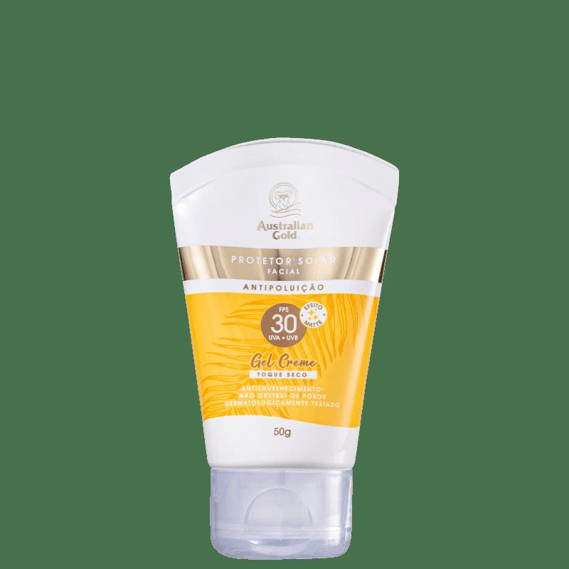 Australian Gold Gel Creme Antipoluição FPS30 - Protetor Solar Facial 50g