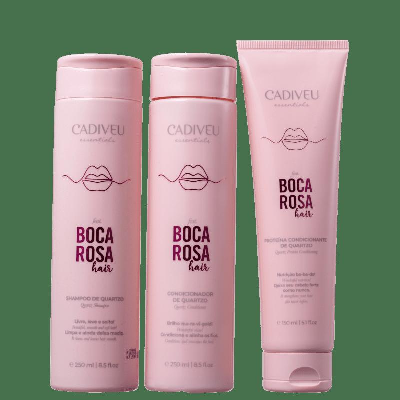Kit Boca Rosa Hair Limpeza & Cuidados Diários Cadiveu Professional - Shampoo + Condicionador + Proteína