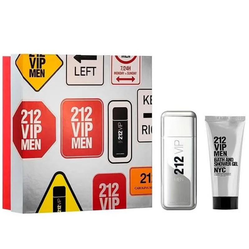 kit Carolina Herrera 212 VIP Men Perfume Eau de Toilette 100ml + Gel de Banho 100ml