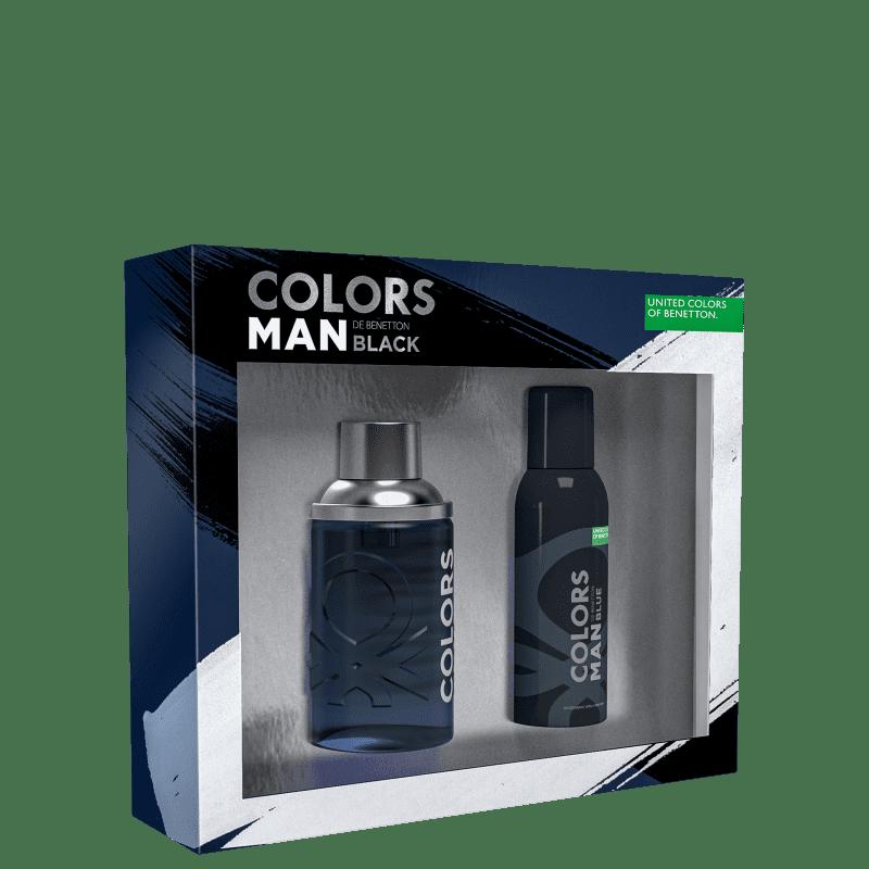Kit Colors Man Black Benetton Masculino - Eau de Toilette 100ml + Gel de Banho 75ml