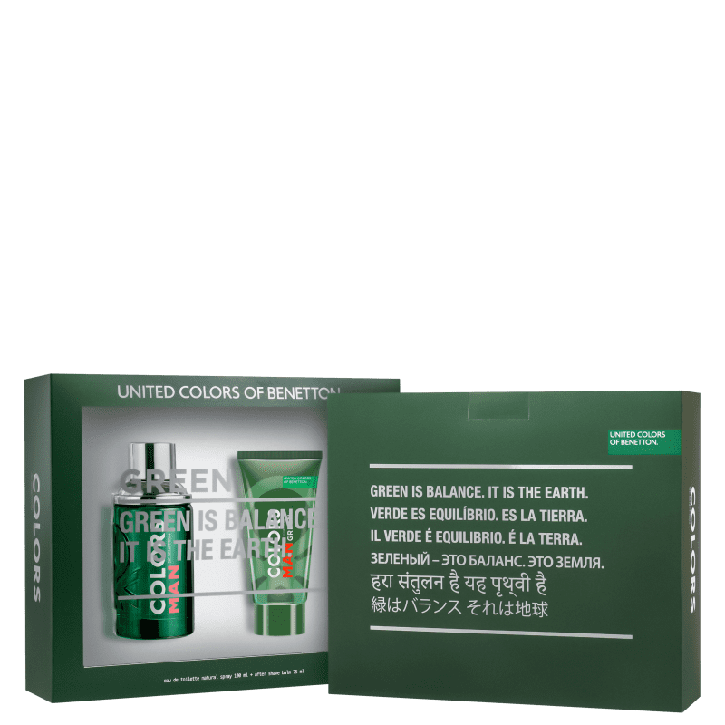 Kit Colors Man Green Beard Benetton Masculino - Eau de Toilette 100ml + Pós-Barba 75ml