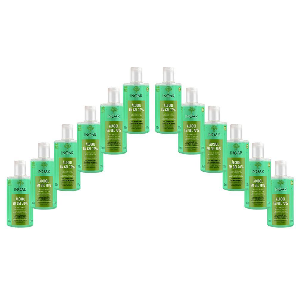 Kit com 12 Álcool em Gel 70% 300ml Antisséptico Inoar