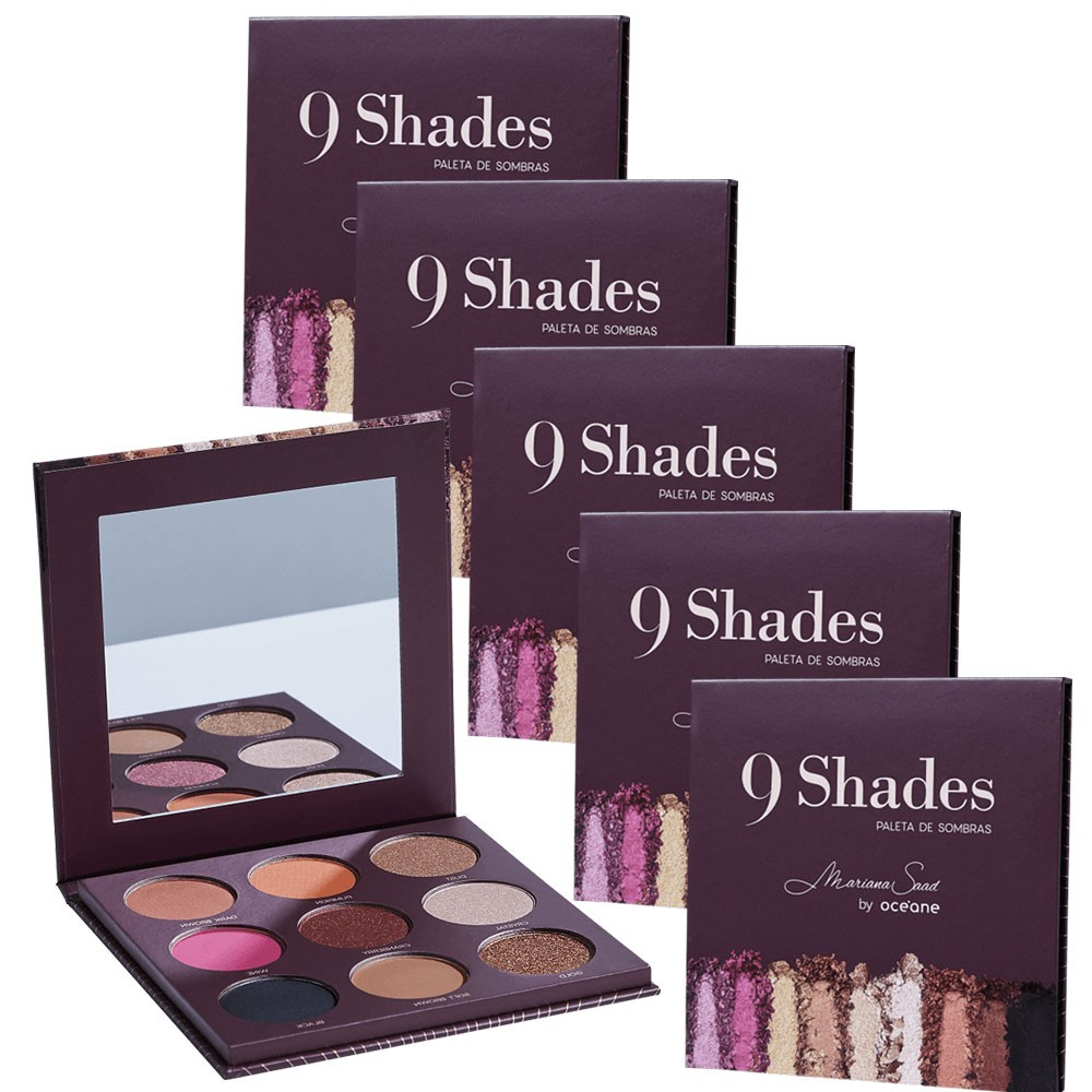 Kit com 6 Paletas de Sombra 9 Shades - Mariana Saad By Océane