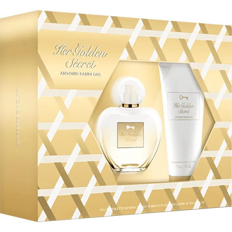 Kit Her Golden Secret Antonio Banderas Eau de Toilette - Perfume Feminino 80ml + Body Lotion 75ml