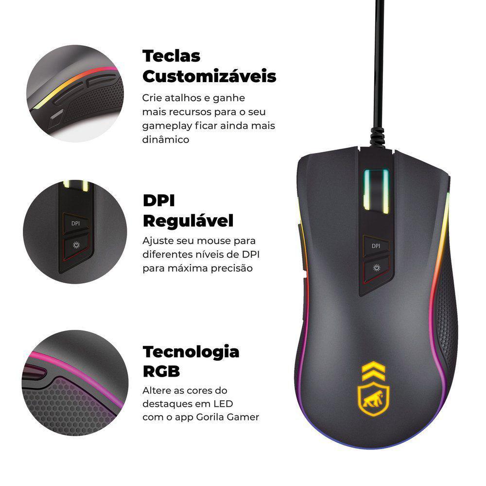 Mouse Gamer Dual Shock - Gorila Shield