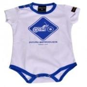 Body Infantil Masc Branco E Azul - Custom - Bodycm - 037/93908
